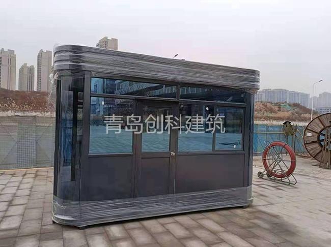 青岛创科承接的烟台金茂云创汇B钢结构岗亭安装